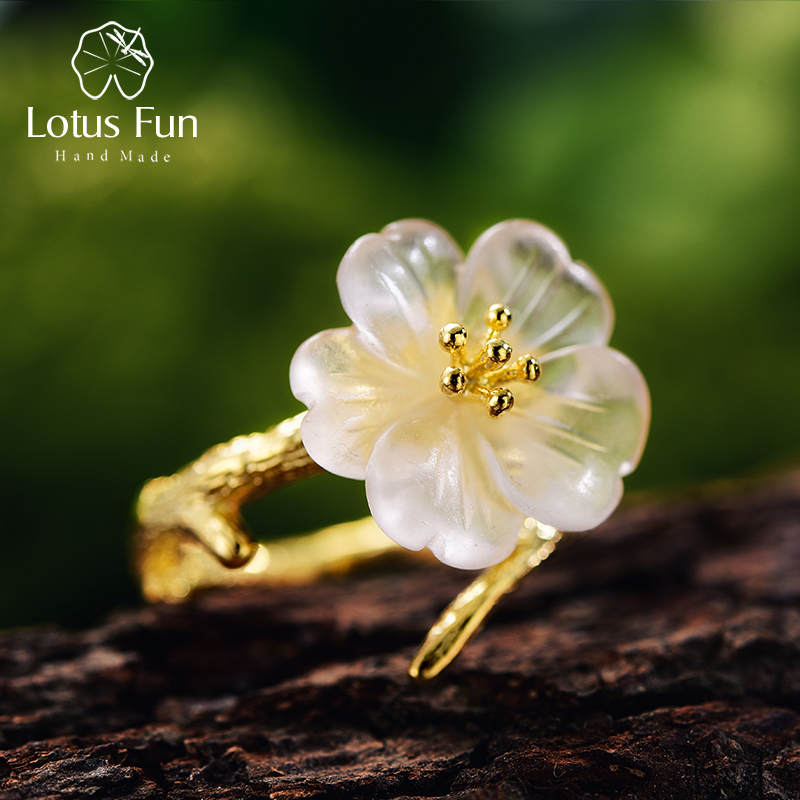 Lotus Fun Real 925 Sterling Silver Natural Crystal Fine Jewelry Flower In The Rain Ring Open Rings For Women Female Bijoux Gift