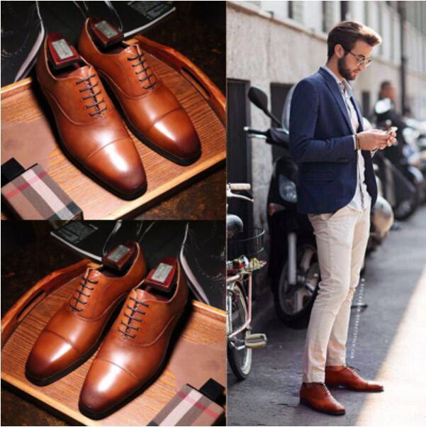 46 Hochzeit 1 Schuhe Kleid 2018 Oxfords Italienischen Geschäfts Handmade Rauchen Größe Lace Leder 2 Up Männer qawg6O0f