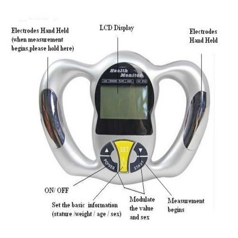11ea124016ea US $36.23 |Digital scale Body fat Meter Health Monitor slim Fat Analyzer  measure fat scale BMI Mass Index Handheld Calorie hand meter-in Body Fat ...
