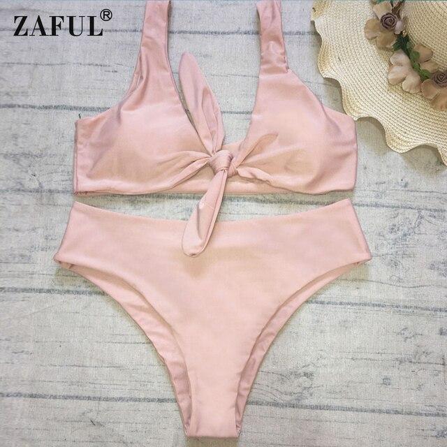 e5a39bbb3a ZAFUL Swimwear Women Sexy Shoulder Strap Padded Tied Bowknot High Waist Bikini  Set Women Swimsuit femme Bathing Suit