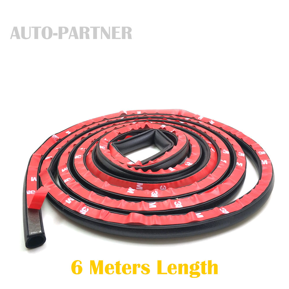 6 meters Big D 12*14mm Rubber Seals Car Door Seal Insulation Anti noise Waterproof Rubber for VW POLO 6N 9N for Renault Clio 2 cawanerl car sealing strip kit weatherstrip rubber seal edging trim anti noise for nissan almera march micra note pixo platina