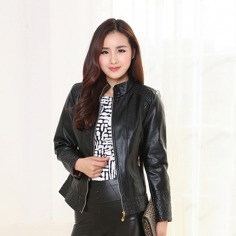 M-5XL Plus Size Pu   Leather   Jacket Women Mandarin Collar Zipper Middle-aged Mothers Clothes Solid Bright Color Coat Spring Autumn