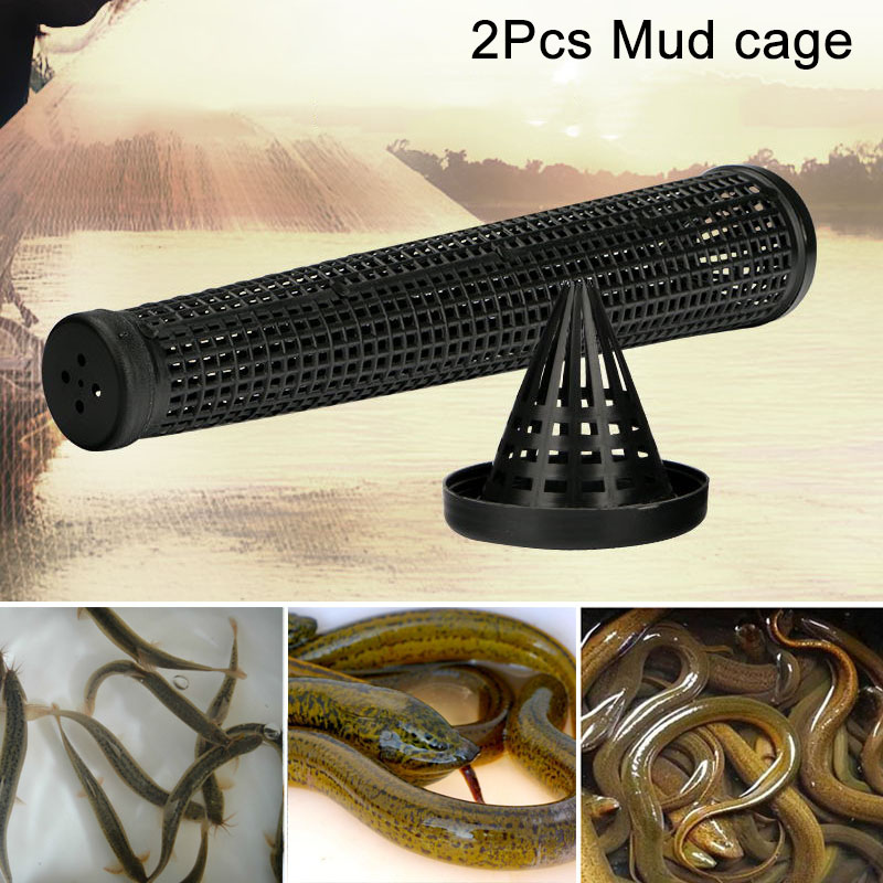 2pcs Cage Fishnet Finless Eel Loach Trap Fishing Pot Durable Plastic Container BHD2