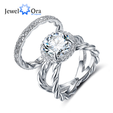 Luxury Ring Sets For Wedding 10mm 3.5 CT Hearts And Arrows Cubic Zirconia 925 Sterling Silver Jewelry (JewelOra RI102338)