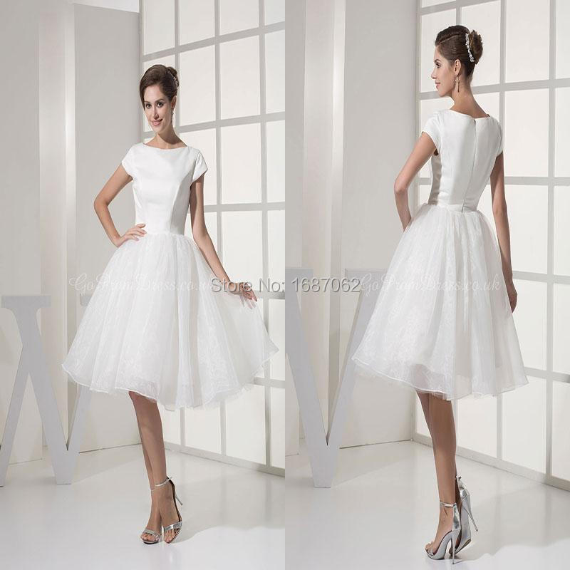 Princess satin organza short bridal dresses bateau knee for Knee length wedding dresses with sleeves
