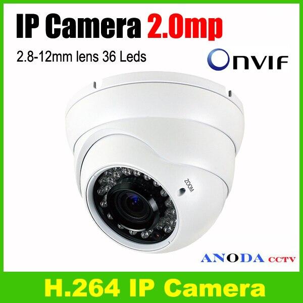 Popular Dome metal <font><b>case</b></font> 36 <font><b>Leds</b></font> 2.8-12mm zoom lens IR CUT weatherproof outdoor 2.0MP H.264 IP CCTV Camera