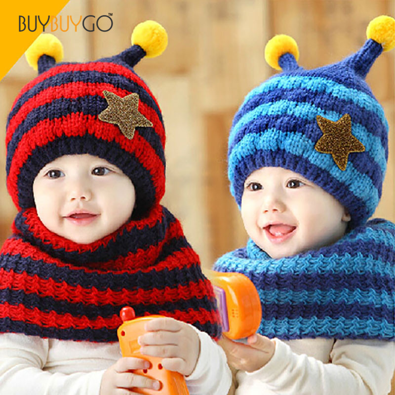Winter Velvet Ear Muff Stripe Knitting Bee Baby Hat and Scarf Set Newborn Photography Props Unisex Cute Baby Hat