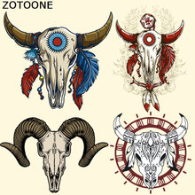 ZOOONE Animal Patches T-shirt Press Sticker Skull Bull Patch Clothes Decoration Easy Print By Household Irons for Kids C