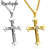 Fashion Men S Necklace Gold Color Stainless Steel Cross Pendant Necklace High Quality Multilayer Cross AAA