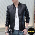 Men's motorcycle leather thickening and cultivate one's morality short PU leather jacket