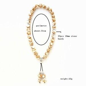 Image 2 - New 10 mét Trắng Đá Bead 33 Hạt Cầu Nguyện Hồi Giáo Hồi Giáo Tasbih Allah Mohammed Mân Côi cho phụ nữ đàn ông