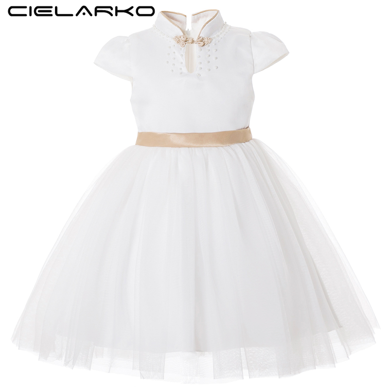 Cielarko Kids Dress for Girl Princess Big Bow Elegant Dresses White Gold Flower Girls Wedding Party Dress Fancy Design CollarCielarko Kids Dress for Girl Princess Big Bow Elegant Dresses White Gold Flower Girls Wedding Party Dress Fancy Design Collar