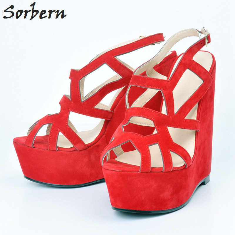 Sorbern Women Wedges Sandals Plus Size Platform Womens Sexy Shoes High Heels Party Sandlas Hollow Size Platform High Heels C denim zipper hollow worn stiletto womens sandals