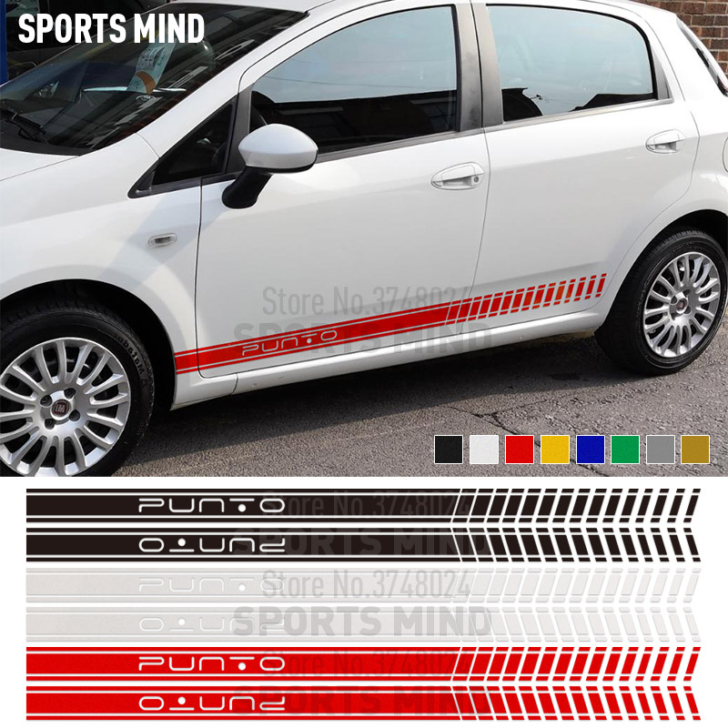 1 Pair Door Side Stripe Car Sticker Decal Automobiles Car Styling For FIAT PUNTO EVO ABARTH Fiat Grande Punto Car Accessories