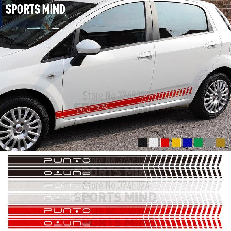 Otomobiller ve Motosikletler'ten Araba Çıkartmaları'de 1 çift Kapı Yan Şerit Araba Sticker Çıkartma Otomobil Araba Için FIAT PUNTO EVO ABARTH Fiat Grande Punto araba Aksesuarları title=
