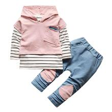 2017 Winter Autumn Toddler Newborn Baby Boy Girl Striped Long Sleeve T-shirt Top Hoodie+Pants 2pcs Outfits Set for 1T-3T