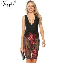 Sexy women Black perspective Sequins Dress V neck sleeveless summer Dress Elegant Night club party midi bodycon dresses vestidos цена и фото