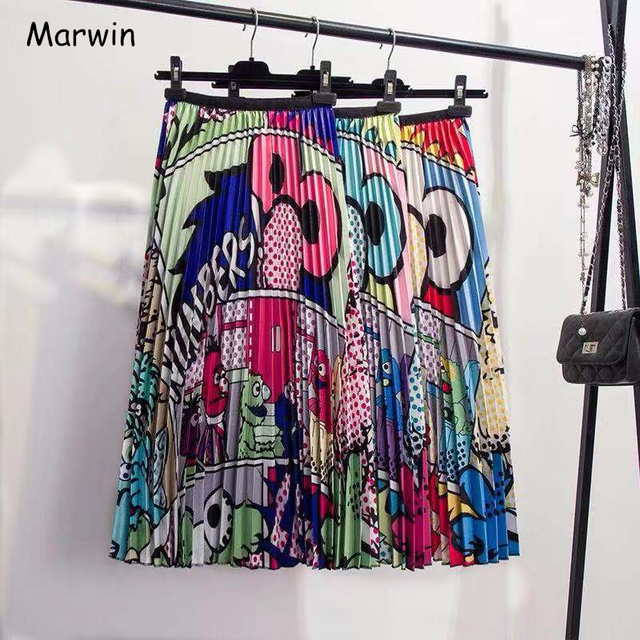 Marwin 2019 Mùa Xuân Mới-Đến Europen Phim Hoạt Hình Mô Hình Độ Đàn Hồi Cao váy Xếp Li Phong Cách Đường Phố Cao A-Line Mid-Bê giáng sinh