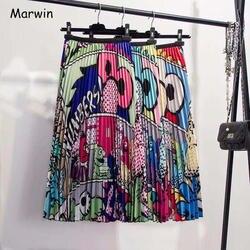 Marwin/Новинка 2019 года, Весенняя плиссированная юбка в европейском стиле с рисунком героев мультфильмов, высокая эластичность, уличный стиль