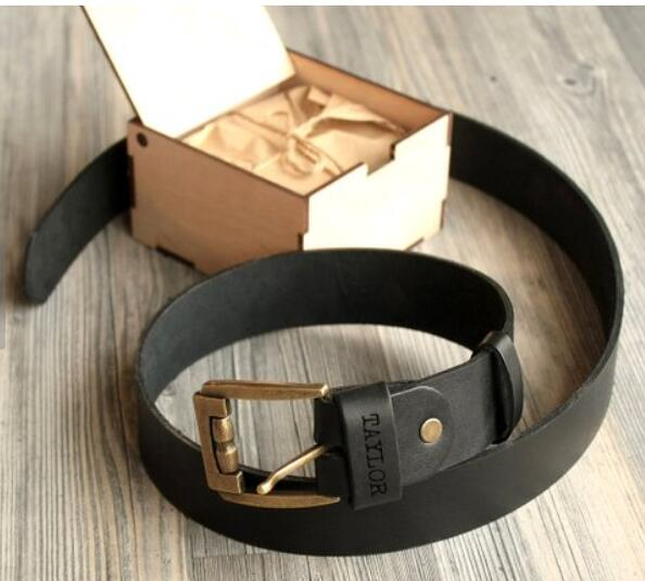 Mens Personalized Leather Belt Handmade Christmas Gift for