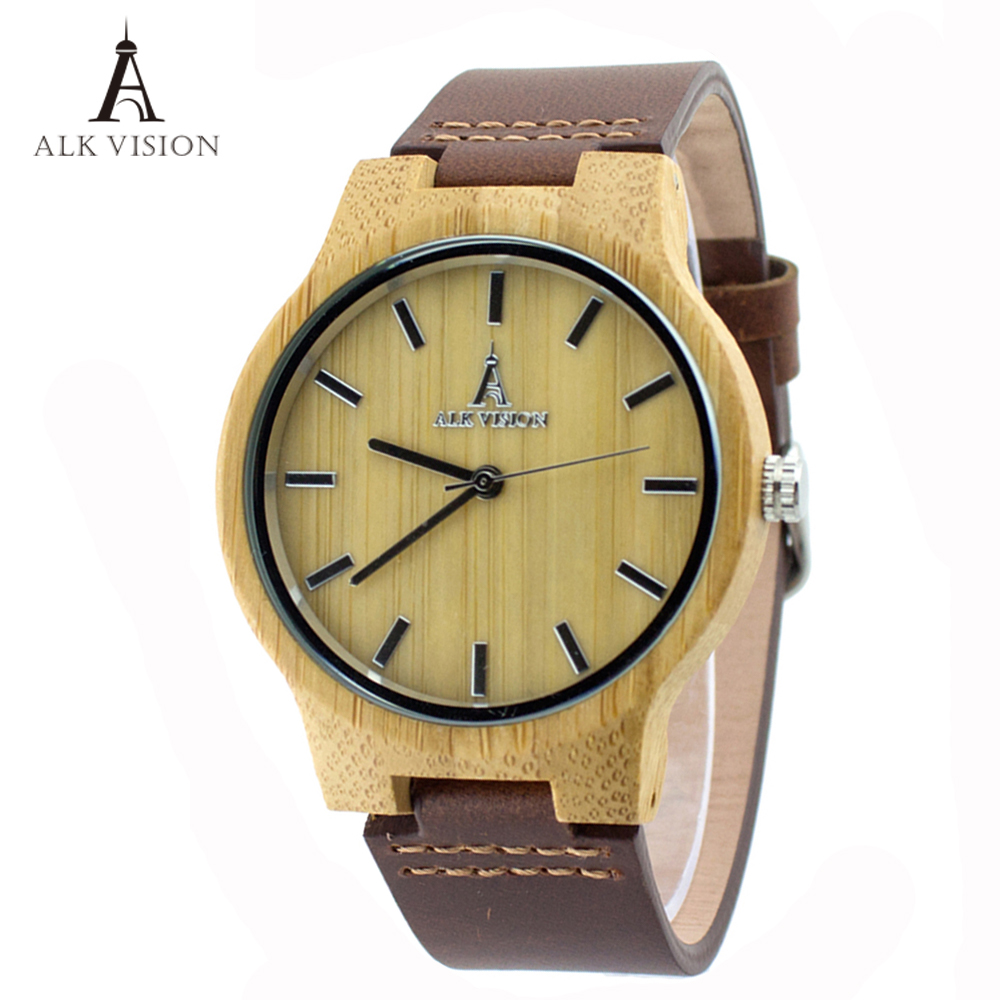 ALK Vision Wood font b Watches b font with Real Leather Straps Japan Quartz Movement 2035