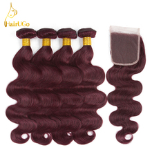 hot deal buy hairugo malaysian body wave hair bundles with closure 99j burgundy human hair bundles with closure non remy pre-colored weaves