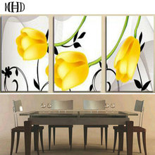 MHD Lily Diamond Painting Yellow Mosaic & Round Cross Stitch Decoration Kit 1 Set of 3 Size 40x60cm
