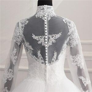 Image 5 - 긴 소매 레이스 지퍼 매력 단추 이슬람 새로운 화이트 웨딩 드레스 2021 환상 신부 가운 빈티지 Vestido 드 Noiva 플러스 크기