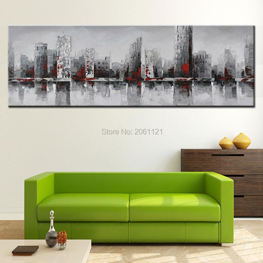 ručno oslikana ogromna široka apstraktna zidna slika grada New - Kućni dekor - Foto 4