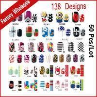 138Designs Full Cover Adhesive Nail Art Stickers Decals 50sheets Lot Nail Foil Patch DIY Styling Tool