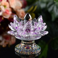 K9 crystal candlestick 85*110mm Sparkle feng shui Purple Lotus Flower Candle Glass Holders Big Tealight wedding craft Gem stones