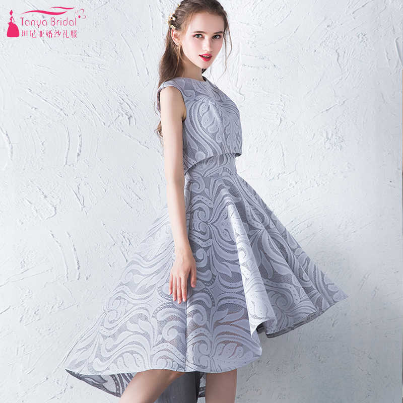 46e44999554 Grey High Low Lace Bridesmaid Dresses 2018 Real Photo Short Maid Of honor  Gowns O-