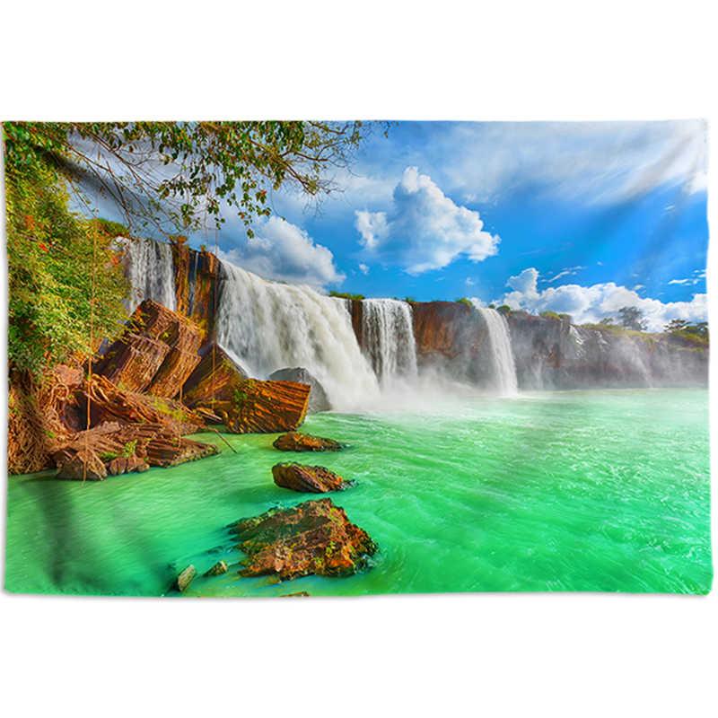 滝タペストリー壁サイケデリック壁タペストリークリア川自由奔放に生きる装飾ビッグサイズの壁布 3D 絵画 200*300