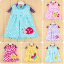 Ladybug Bebe Dresses 0 1 2 year Baby Girls Dress Infant Blouses Newborn clothing sundress 100% cotton Jumpers(China)