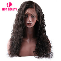 Hot Beauty Hair Lace Front Human Hair Wigs With Baby Hair Brazilian Water Wave Wig 250% Density Remy Pre Plucked Human Hair Wig