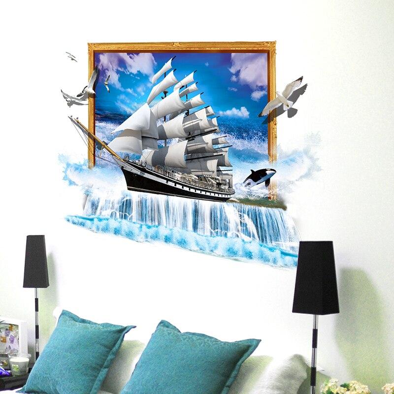 [SHIJUEHEZI] Zeilschip Vogels 3D Muursticker Vinyl DIY Boot Muur Poster voor Huis Kinderen Kamers Woonkamer Slaapkamer Decoratie