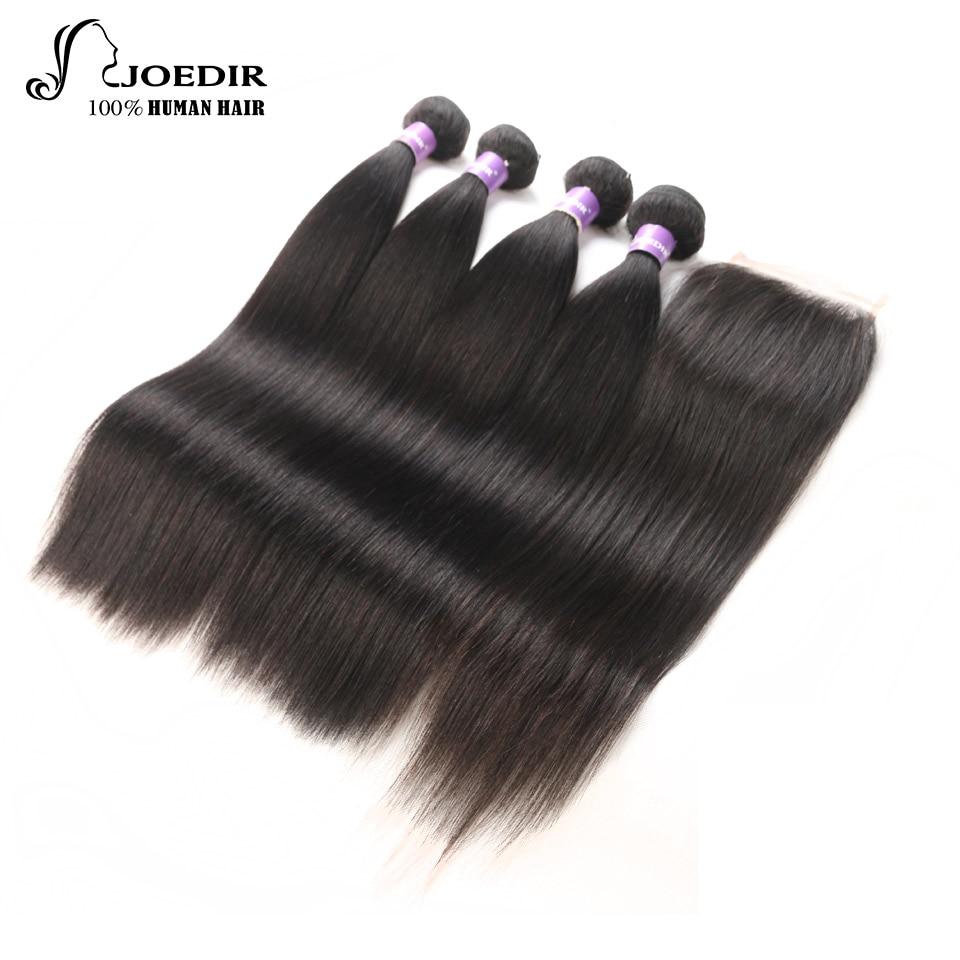 Joedir Hair Brazilian With Pre- Plucked Hair Extention Bundles With Closure Straight Human Hair 3 Bundles With Closure