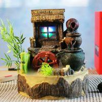 Садовая жизнь дома фонтан воды и воды Дисплей [бамбуковое окно] творческий рыбы пруд цилиндр СЧАСТЛИВЫЙ ВЕТЕР Колесные украшения