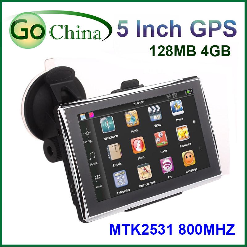 Prix pour 5 pouce de voiture GPS, MTK navigator 800 Mhz CPU GPS intégré 4 GB, DDR 128 MB,, offrir des cartes, livraison gratuite