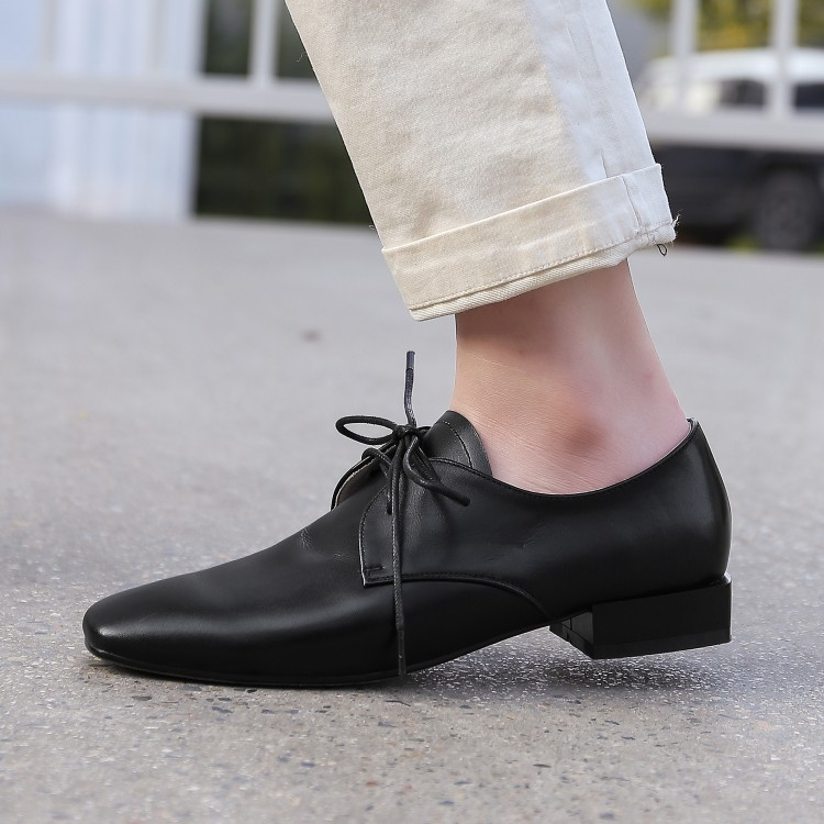 Casual Mljuese Automne Cuir 43 color As Femmes Carré Printemps Chaussures 2019 En Bout Confortable 34 Photo Taille Lacent Vache Appartements Doux Black xTrw6qxY