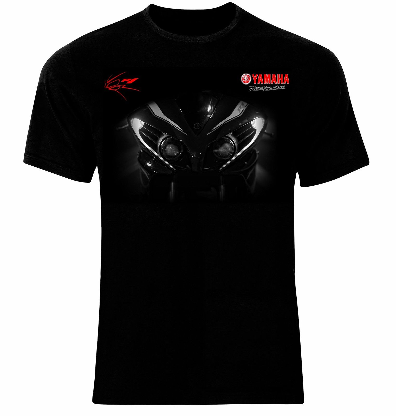 Black yamaha t shirt - Yamaha R1 Headlights Revs Your Heart Manner Printed T Shirt T Shirt Men Summer Casual