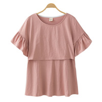 Cotton Maternity Clothing Breastfeeding Nursing Tops Pregnancy Shirt Clothes For Pregnant Women Plus Size Wear Summer