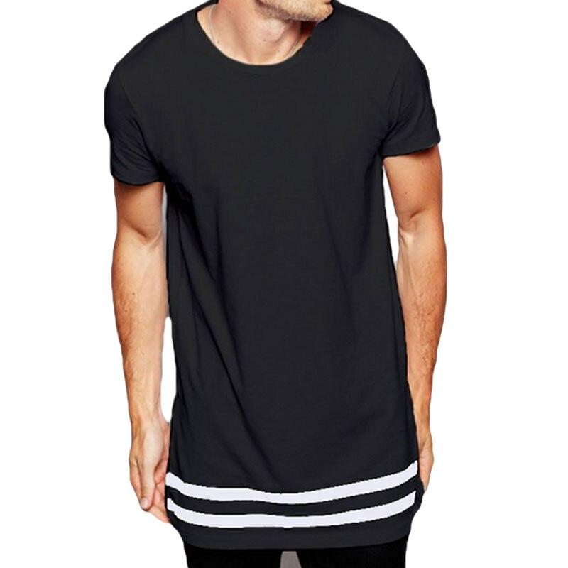 2017 Uomo Streetwear T shirt Estesa Con Palangari Hipster maglietta Degli Uomini Stripes T shirt Homme Lunga Linea Maschile T shirt A Righe Hem F2