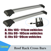 2x Universal Car Roof Rack Cross Bars With Anti Theft Lock System Snowboard Carrier Bike Rack