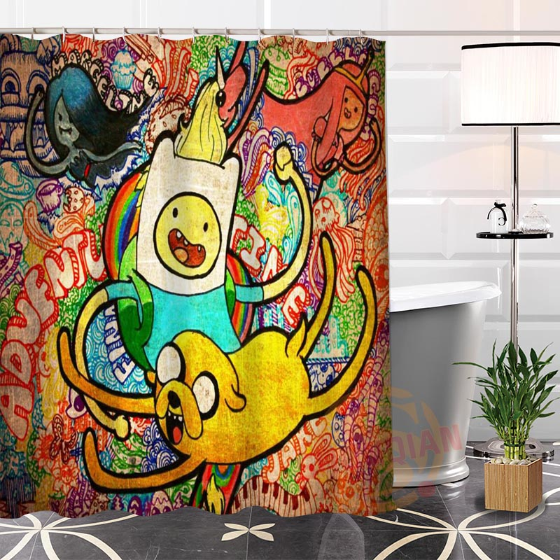 Eco-friendly Custom Unique adventure time Fabric Modern Shower Curtain bathroom With Hooks for yourself H0220-93