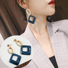 SUKI Fashion Big Resin Drop Earrings For Women 2019 New Acetic Acid Large Korea Square Earrings Trendy Wood Geometric Jewelry