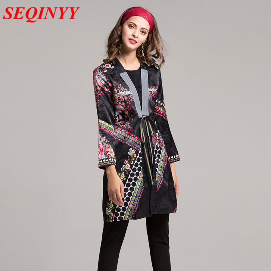 Bohemian Hippie Women   Trench   2017 Autumn Ethnic Fashion Striped Shawl Collar Polka Dot Tie Front Ladies Jacquard Long Coat