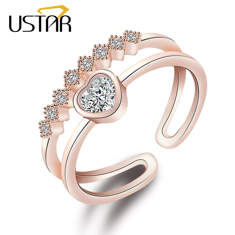 USTAR AAA Zircon Heart wedding Rings for women Double layer Crystals finger Engagement rings Jewelry Opening adjustable size in Engagement Rings from Jewelry Accessories