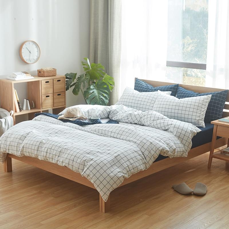 4pcs 100% Cotton bed sets white checks duvet cover matched ...
