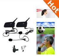2PCS Lot V6C 1200M Intercom Full Duplex Two Way Football Referee Coach Judger Arbitration Earhook Earphone